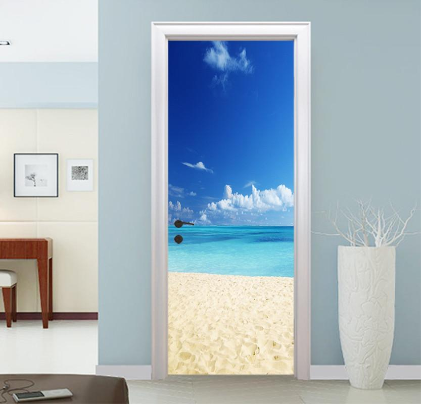 3D sea beach blue sky door mural Wallpaper AJ Wallpaper