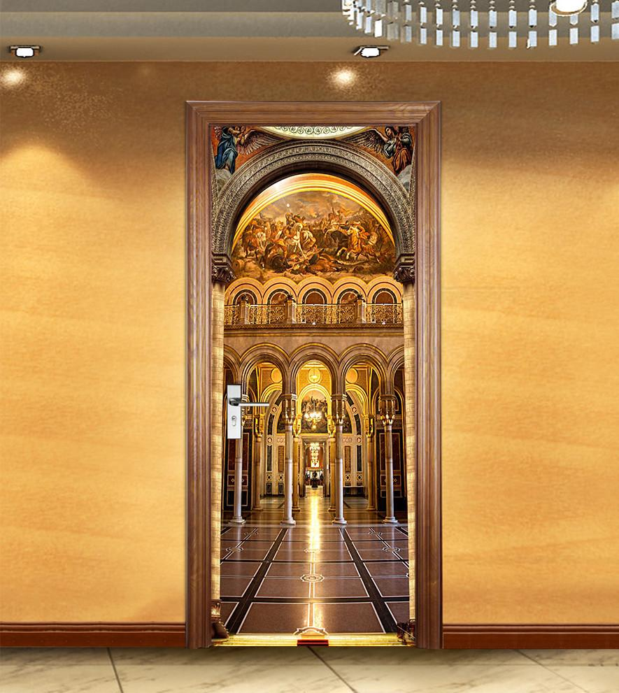 3D utility model circular arch door mural Wallpaper AJ Wallpaper