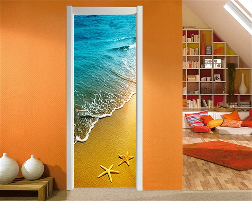 3D beach and blue waves door mural Wallpaper AJ Wallpaper