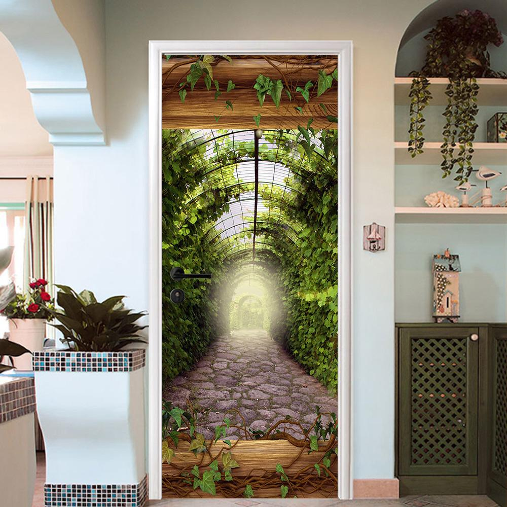 3D cane vine arc stone the long corridor door mural Wallpaper AJ Wallpaper