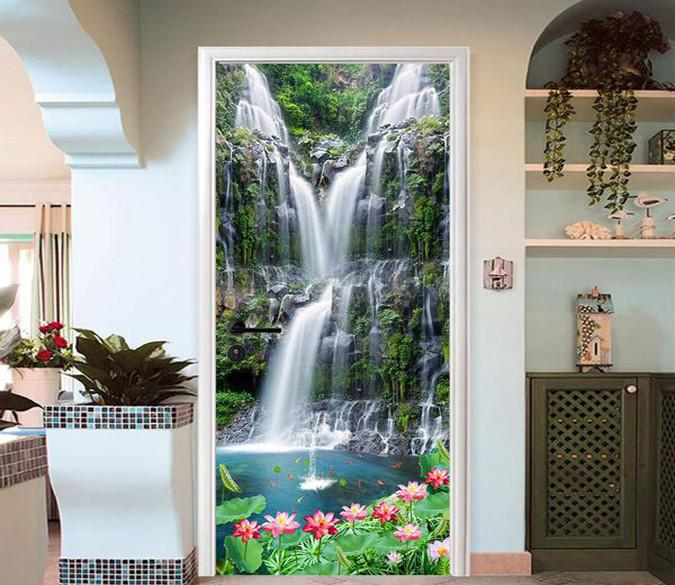 3D lotus waterfall door mural Wallpaper AJ Wallpaper