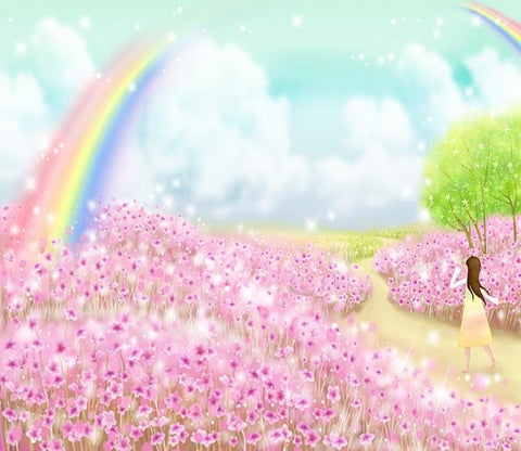 3D Rainbow Cherry Flower Manor 98 Wallpaper AJ Wallpaper