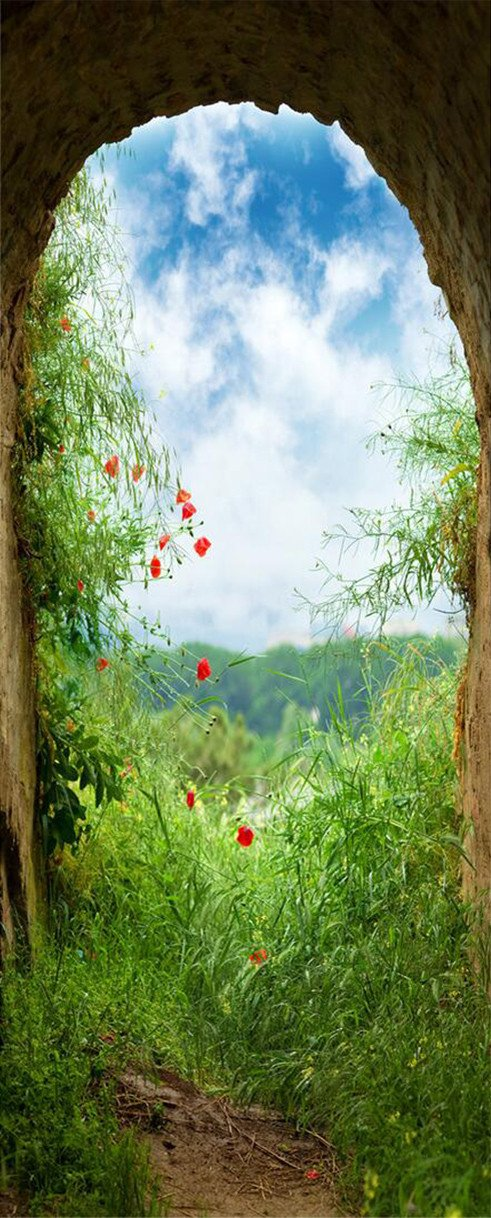 3D green weeds door mural Wallpaper AJ Wallpaper