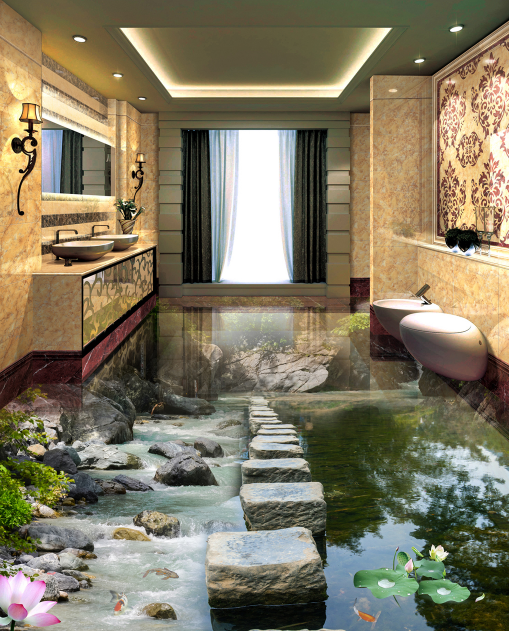 3D Stepping Stone 312 Floor Mural Wallpaper AJ Wallpaper 2