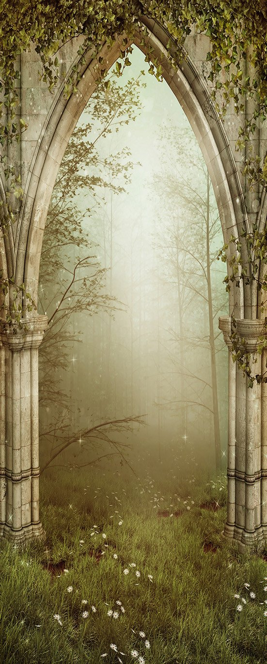 3D forest stone arch door mural Wallpaper AJ Wallpaper