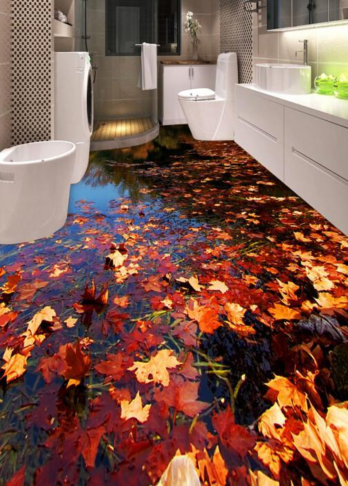3D Floating Leaves Floor Mural Wallpaper AJ Wallpaper 2