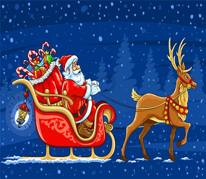 3d father christmas and his reindeer 727 aj wallpaper
