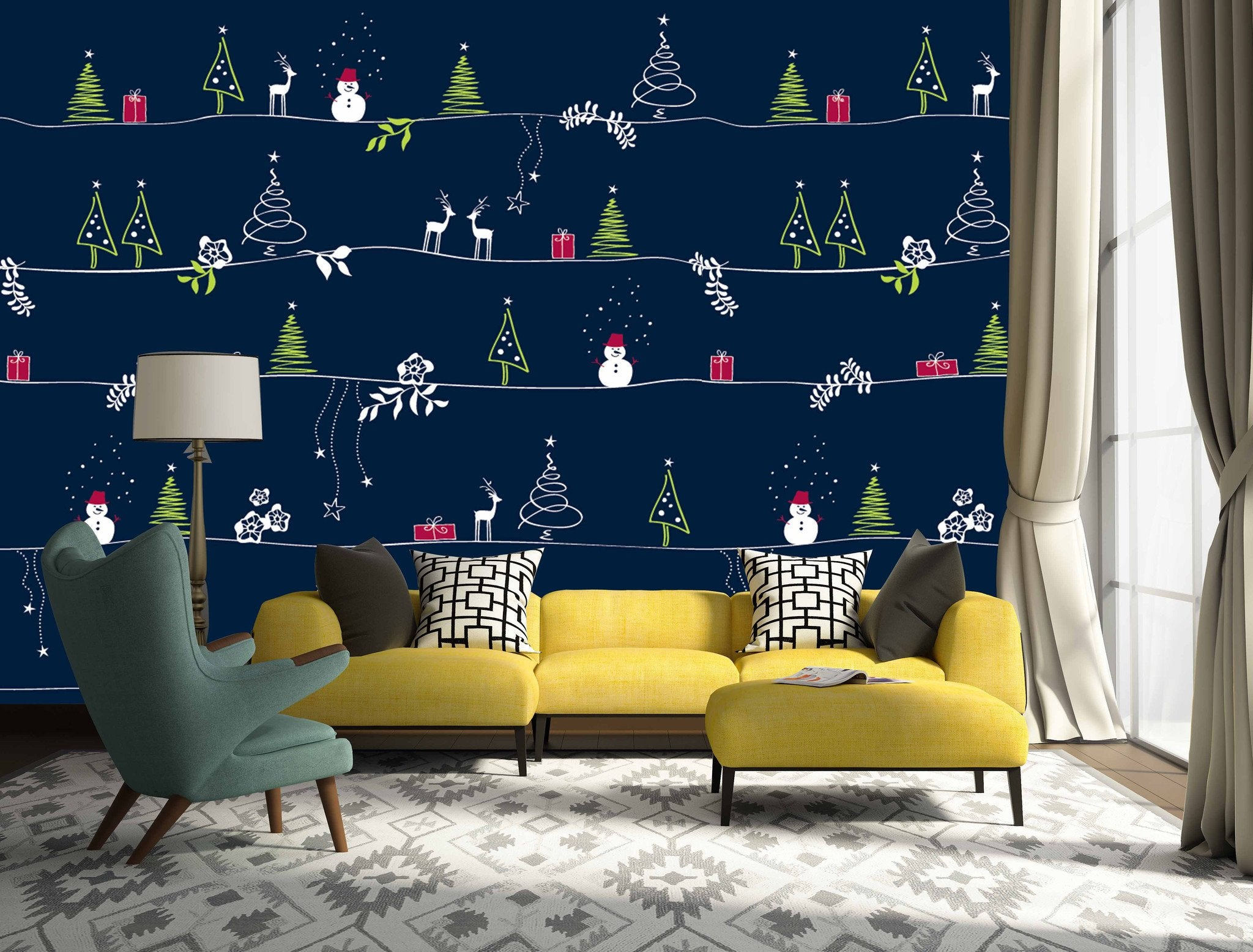 3D Christmas Tree And Reindeer 672