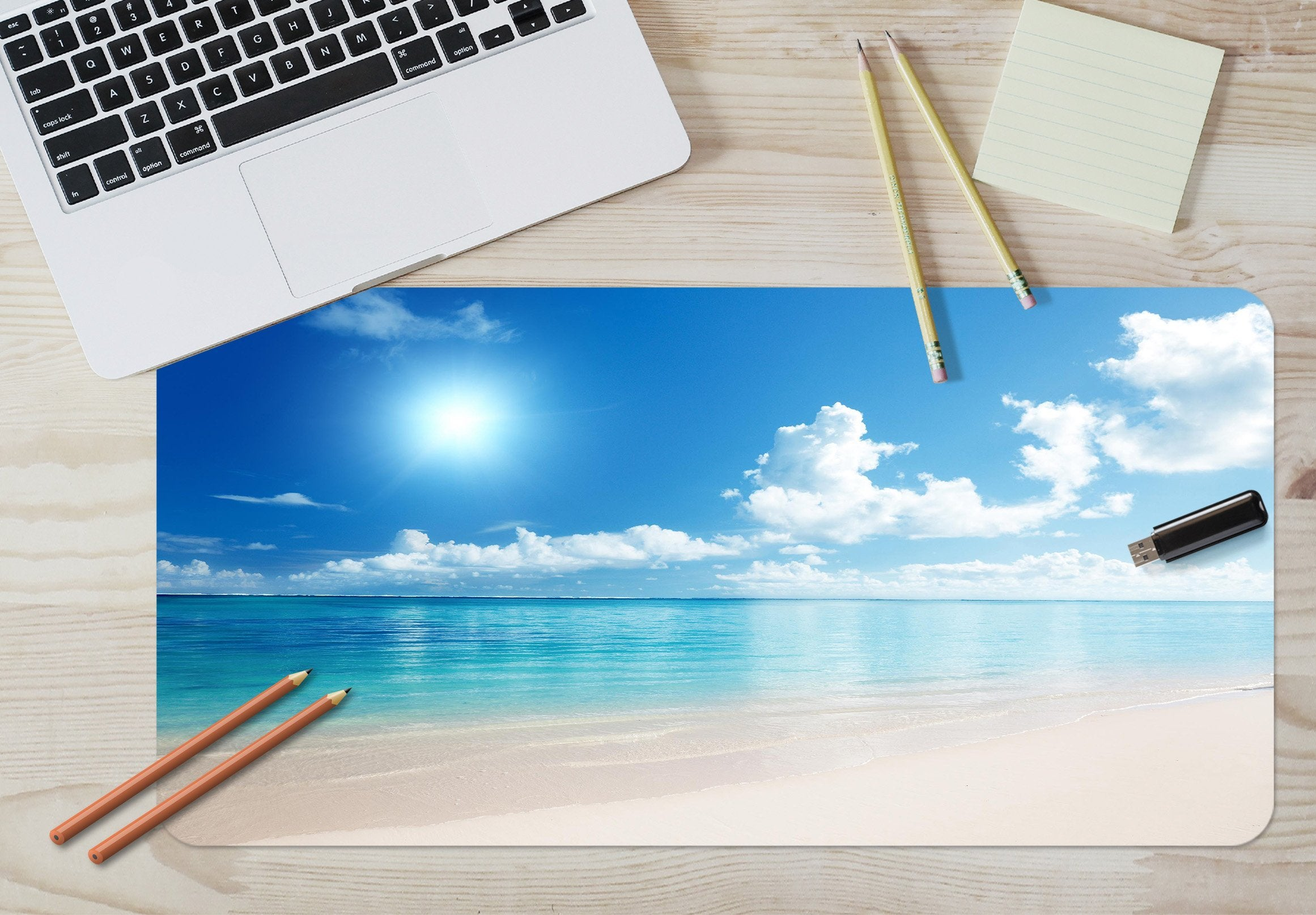 3D Sunny Seaside 037 Desk Mat Mat AJ Creativity Home