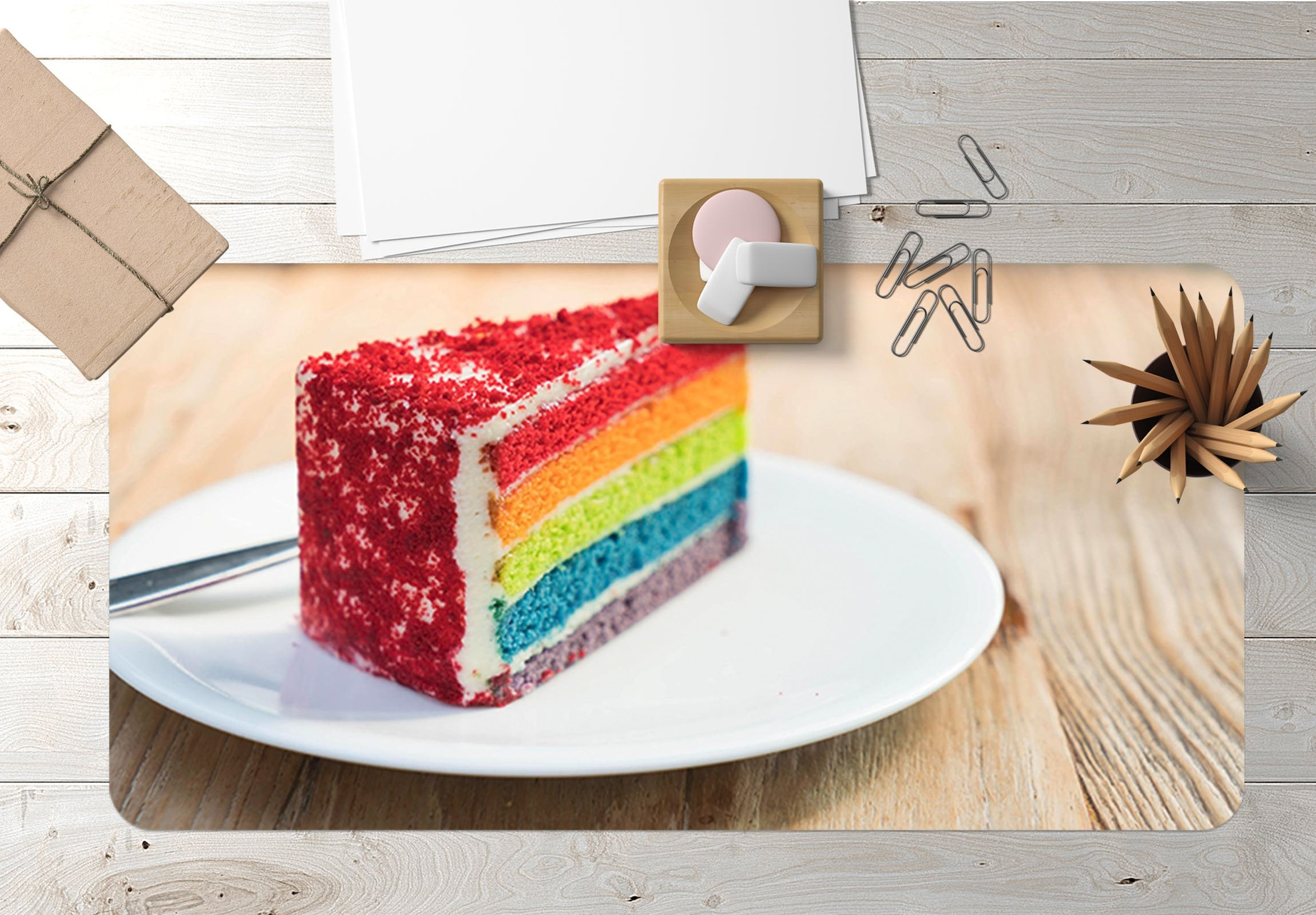 3D Rainbow Cake 030 Desk Mat Mat AJ Creativity Home
