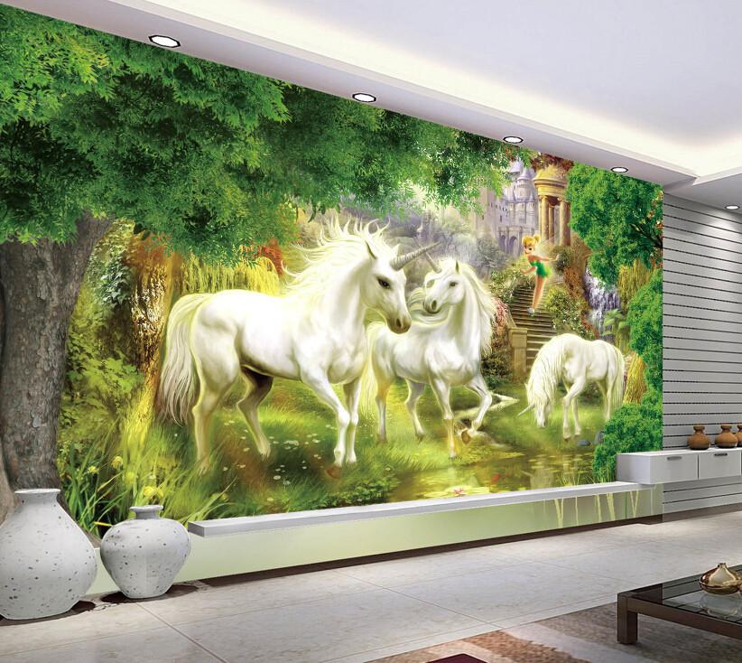 3D Castle And Galloping Horse Wallpaper AJ Wallpaper 1