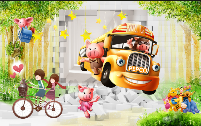 3D Lovely School Bus Wallpaper AJ Wallpaper