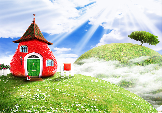 3D Strawberry House Wallpaper AJ Wallpaper