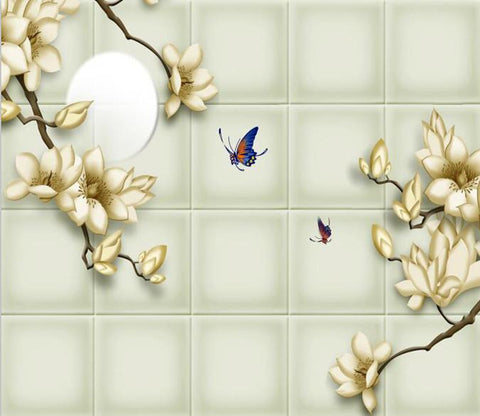 Peach Flower With Butterfly 272 Wallpaper AJ Wallpaper 1