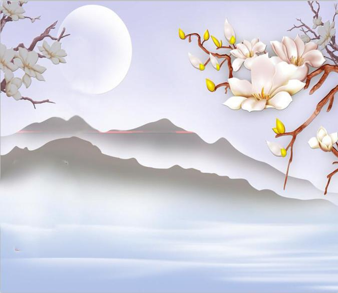 Bright Moon And Fog Mountains 23 Wallpaper AJ Wallpaper 1