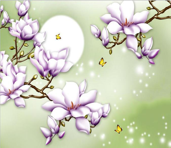 Bright Moon And Purple Flower 66 Wallpaper AJ Wallpaper 1