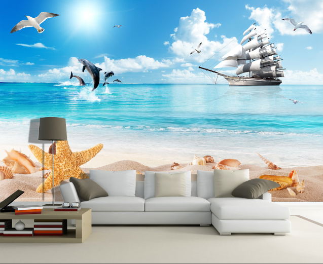 3D Beach Ship 491 Wallpaper AJ Wallpaper