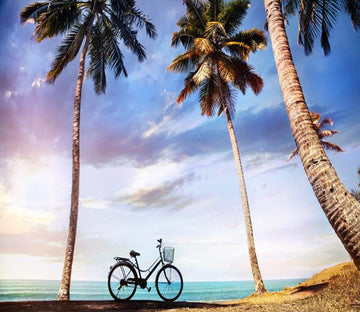 3D Beach Coconut Tree And Bike 67 Wallpaper AJ Wallpapers