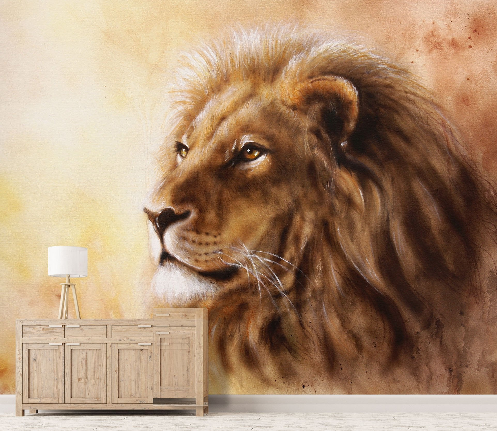 3D Lion Head 091 Wallpaper AJ Wallpaper