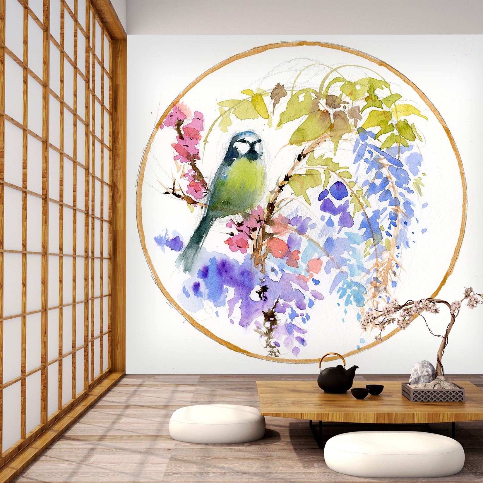 3D Embroidered Bird 1401 Anne Farrall Doyle Wall Mural Wall Murals