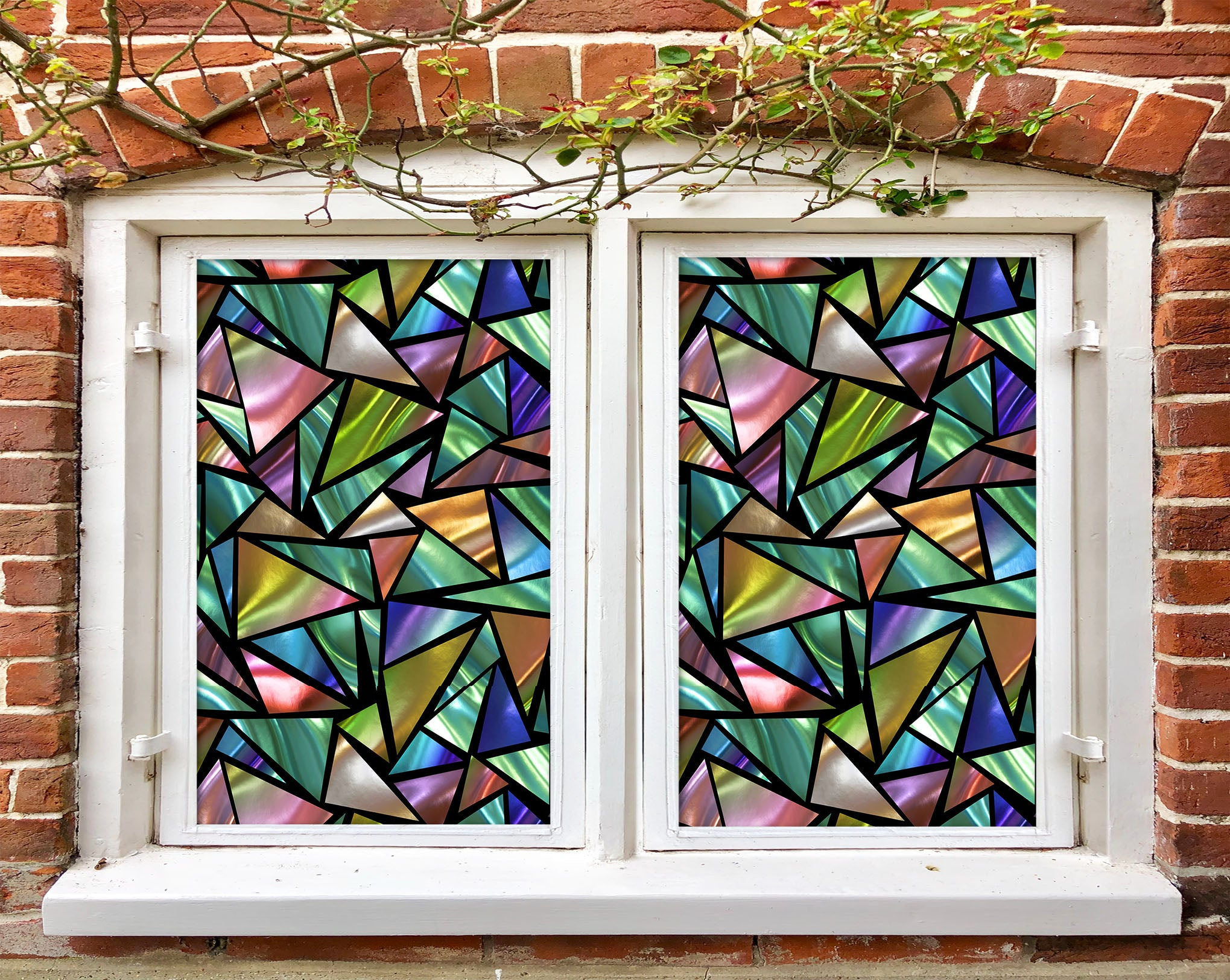 3D Gradient Triangle 458 Window Film Print Sticker Cling Stained Glass UV Block