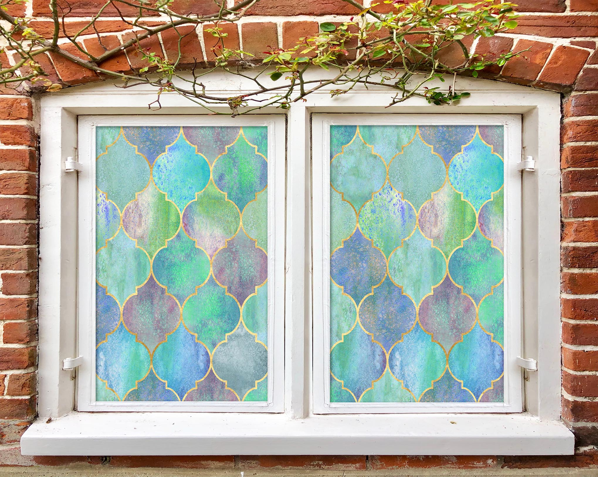 3D Green Pattern 428 Window Film Print Sticker Cling Stained Glass UV Block