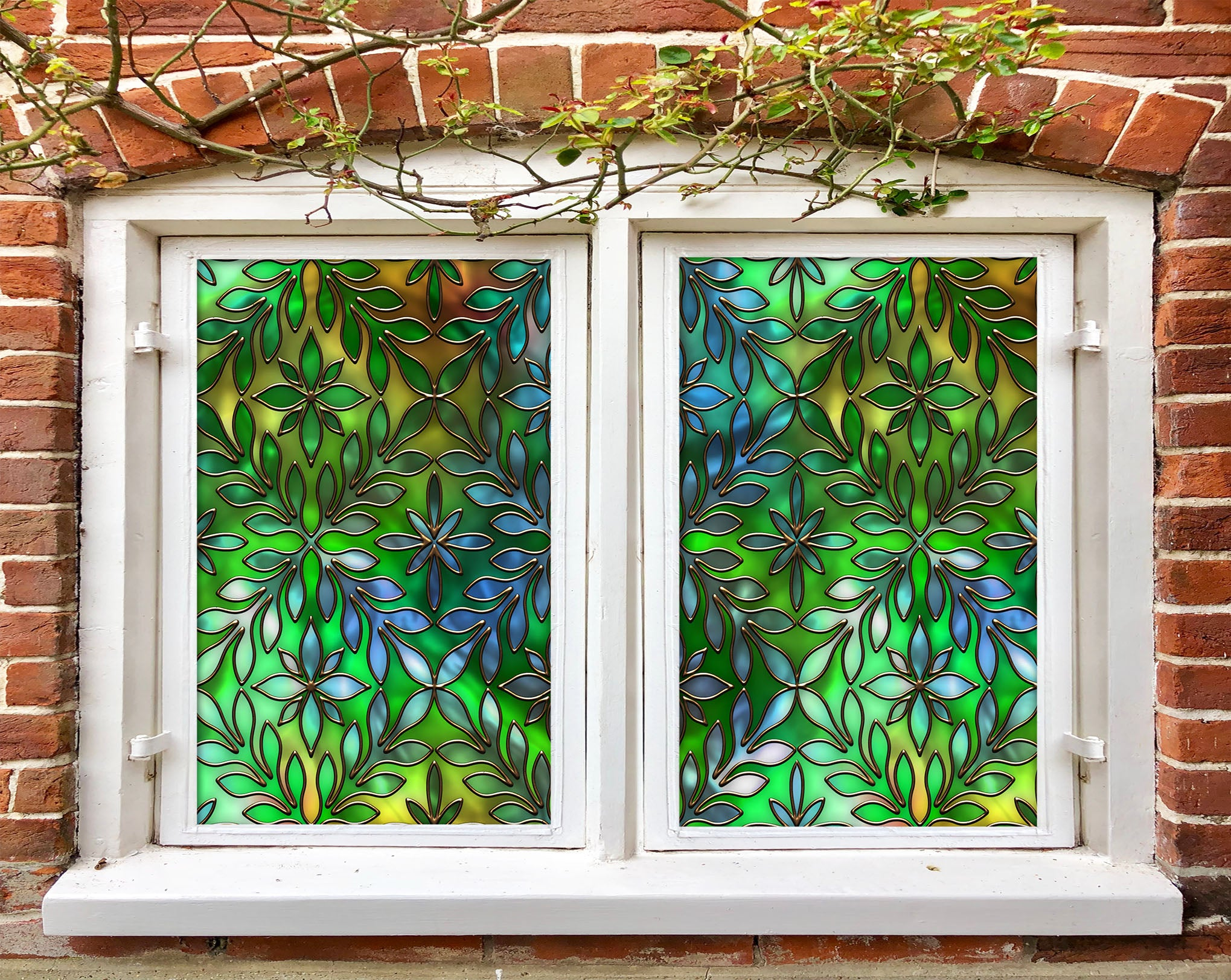 Details about  /3D Green Glass ZHUA213 Window Film Print Sticker Cling Stained Glass UV