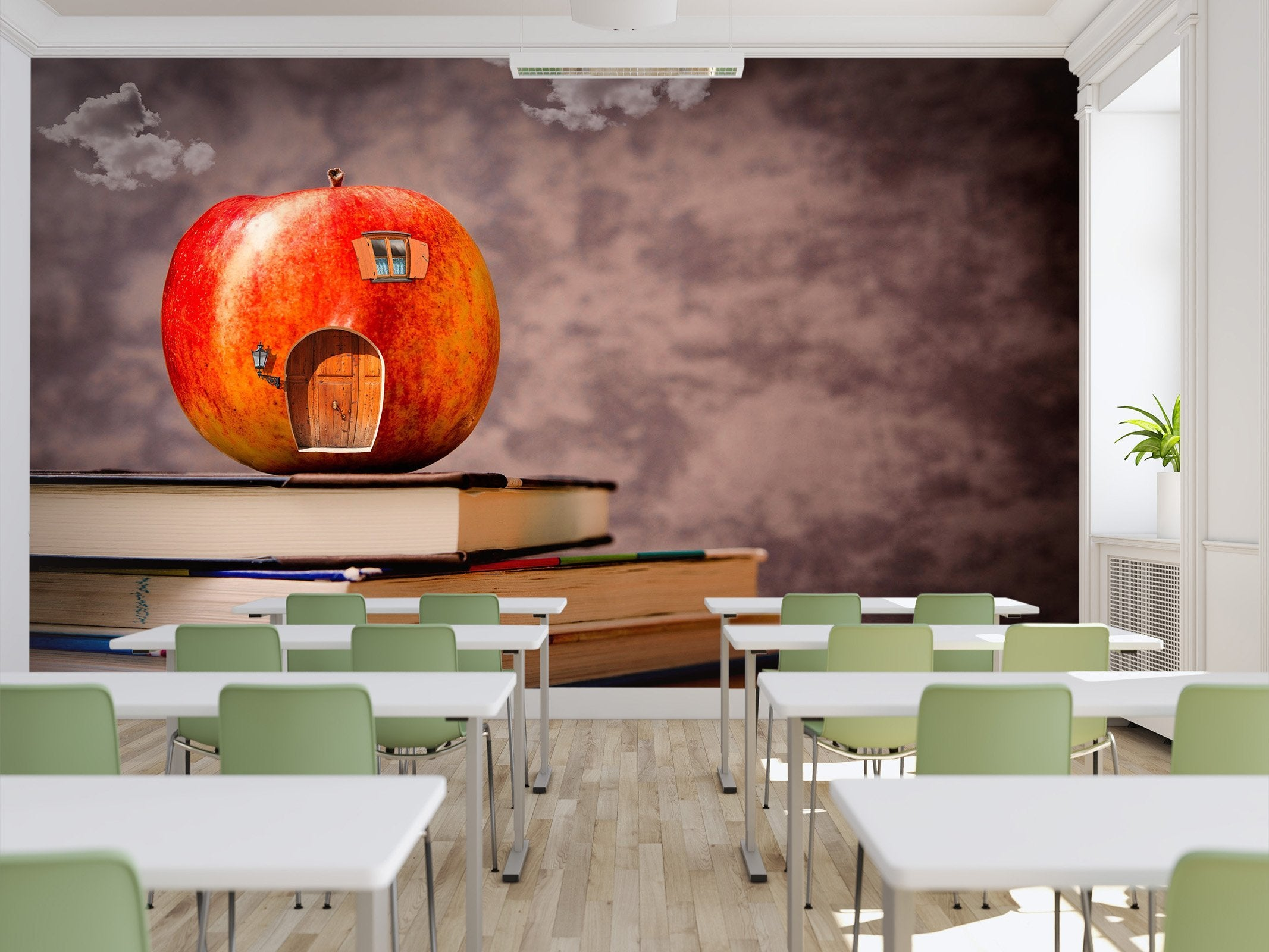 3d Apple House With Books 02 Wall Murals Aj Wallpaper