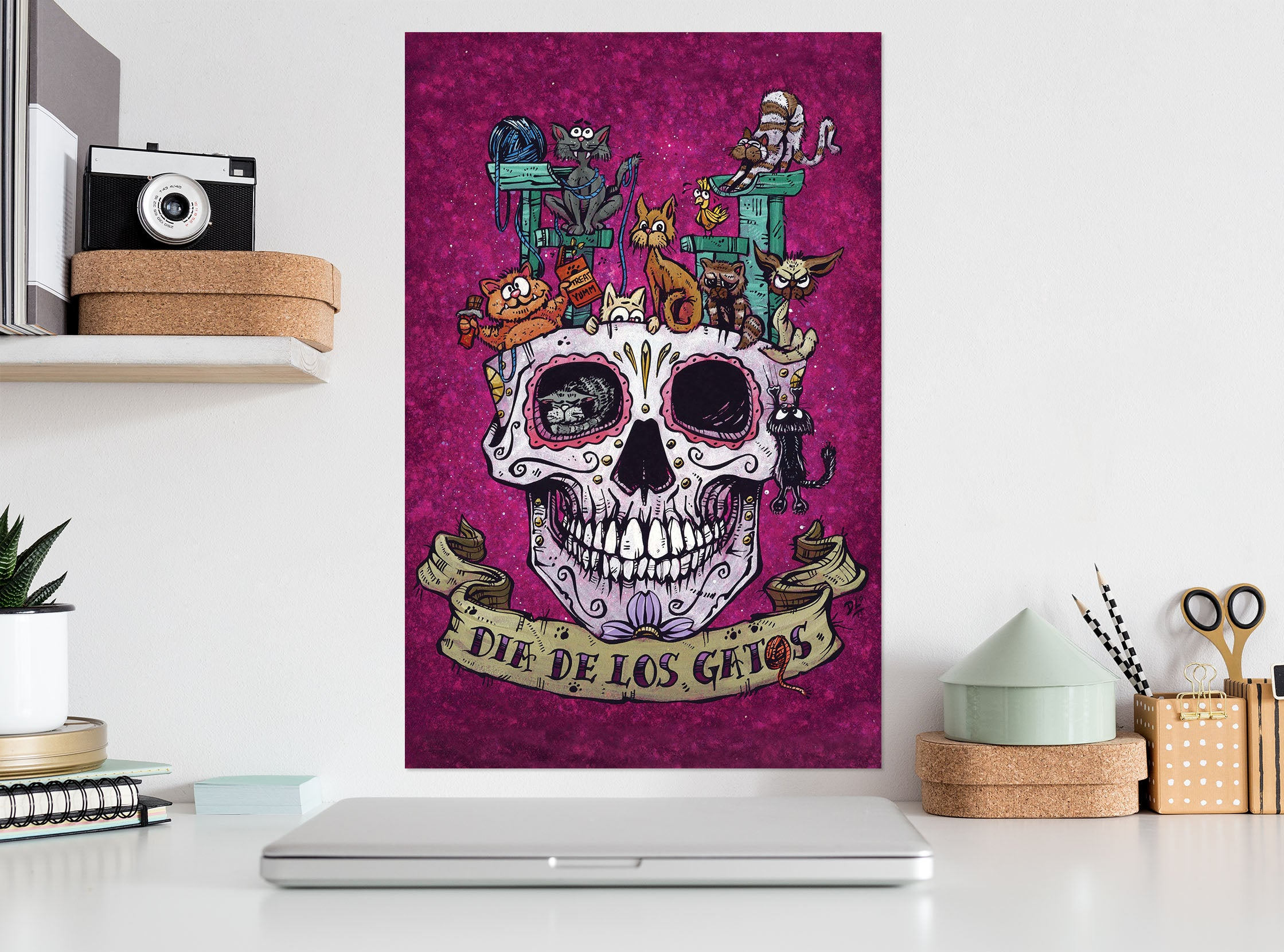 3D Skull Pot 208 David Lozeau Wall Sticker