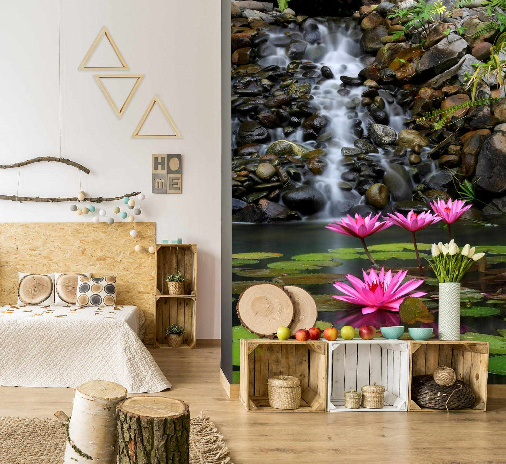 3D Waterfall Lotus 1399 Wall Murals