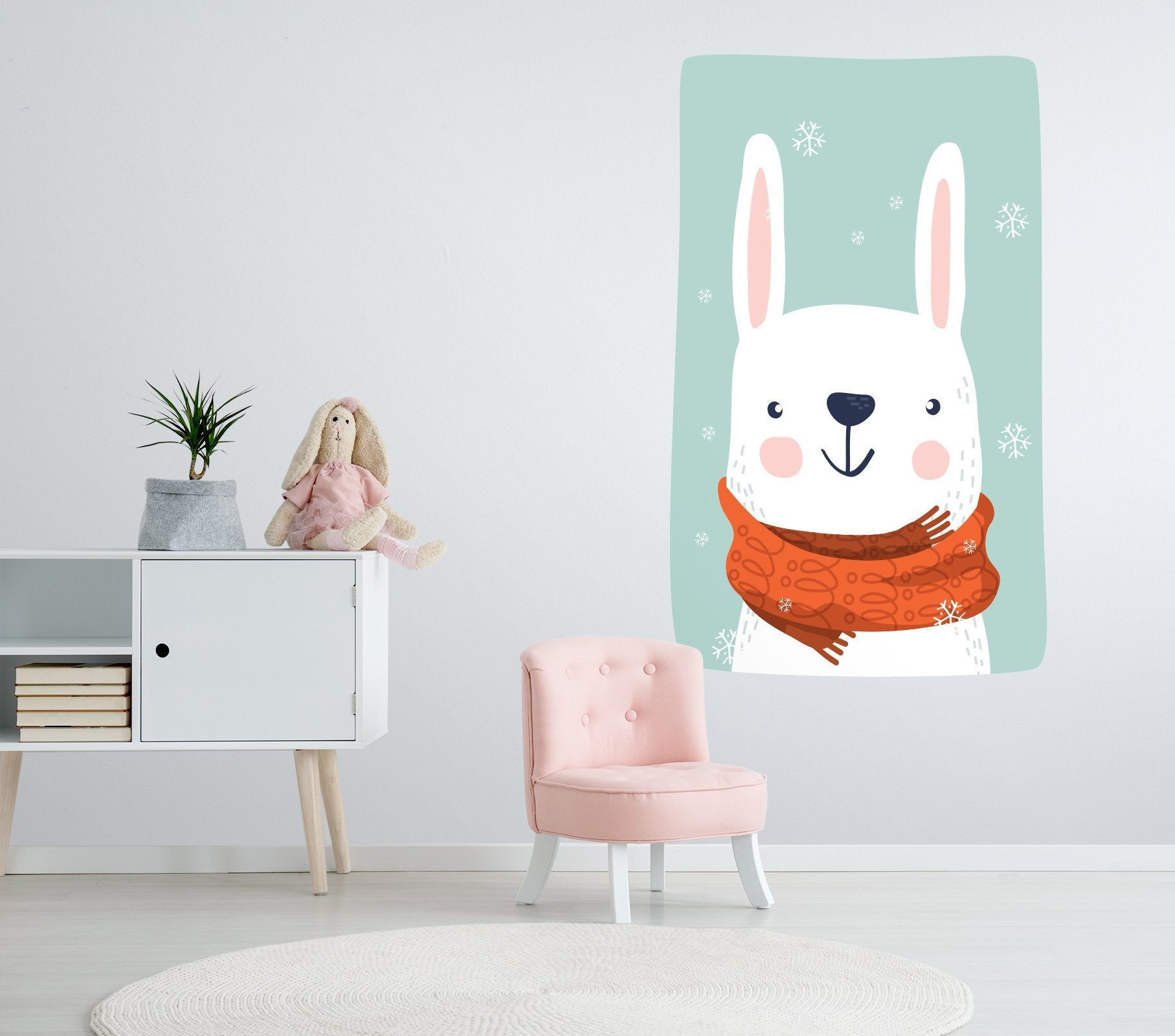 3D Rabbit Scarf 105 Wall Stickers Wallpaper AJ Wallpaper