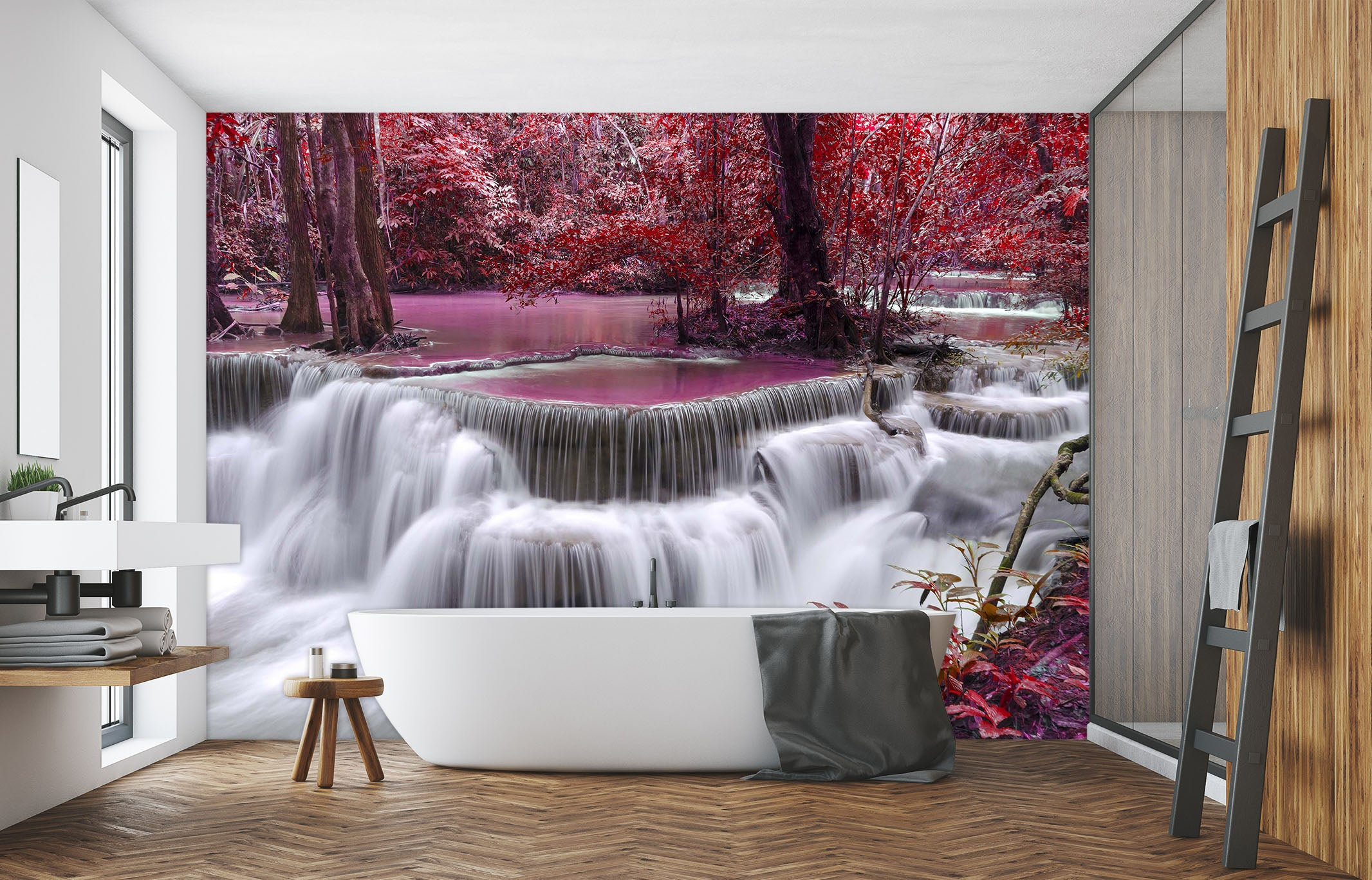 show original title Details about  /3D Waterfall Red ago H205 business Wallpaper Mural Self Adhesive trading on