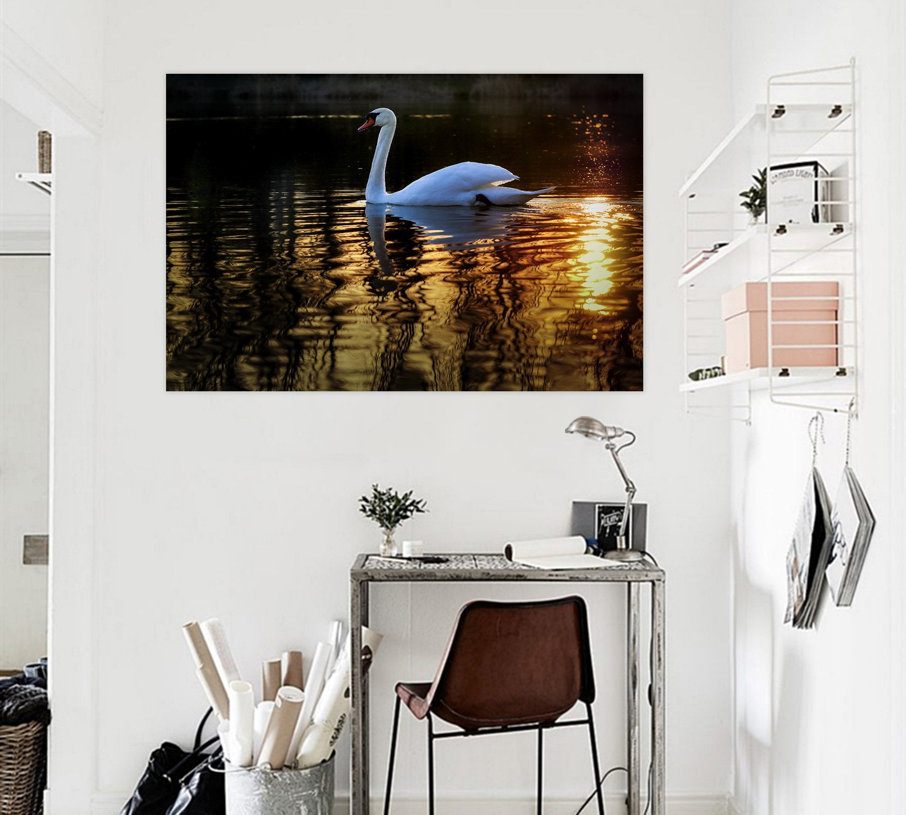 3D Swan Swimming 120 Animal Wall Stickers