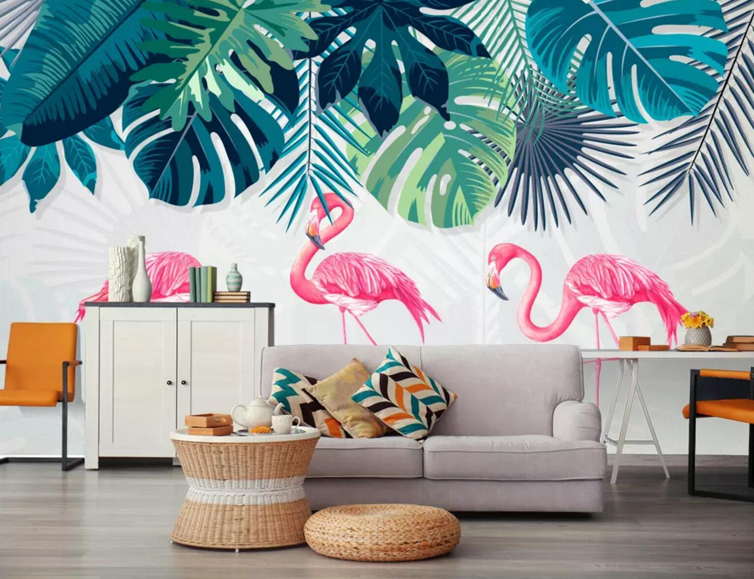 3D Big Leaf Flamingo 290 Wallpaper AJ Wallpaper