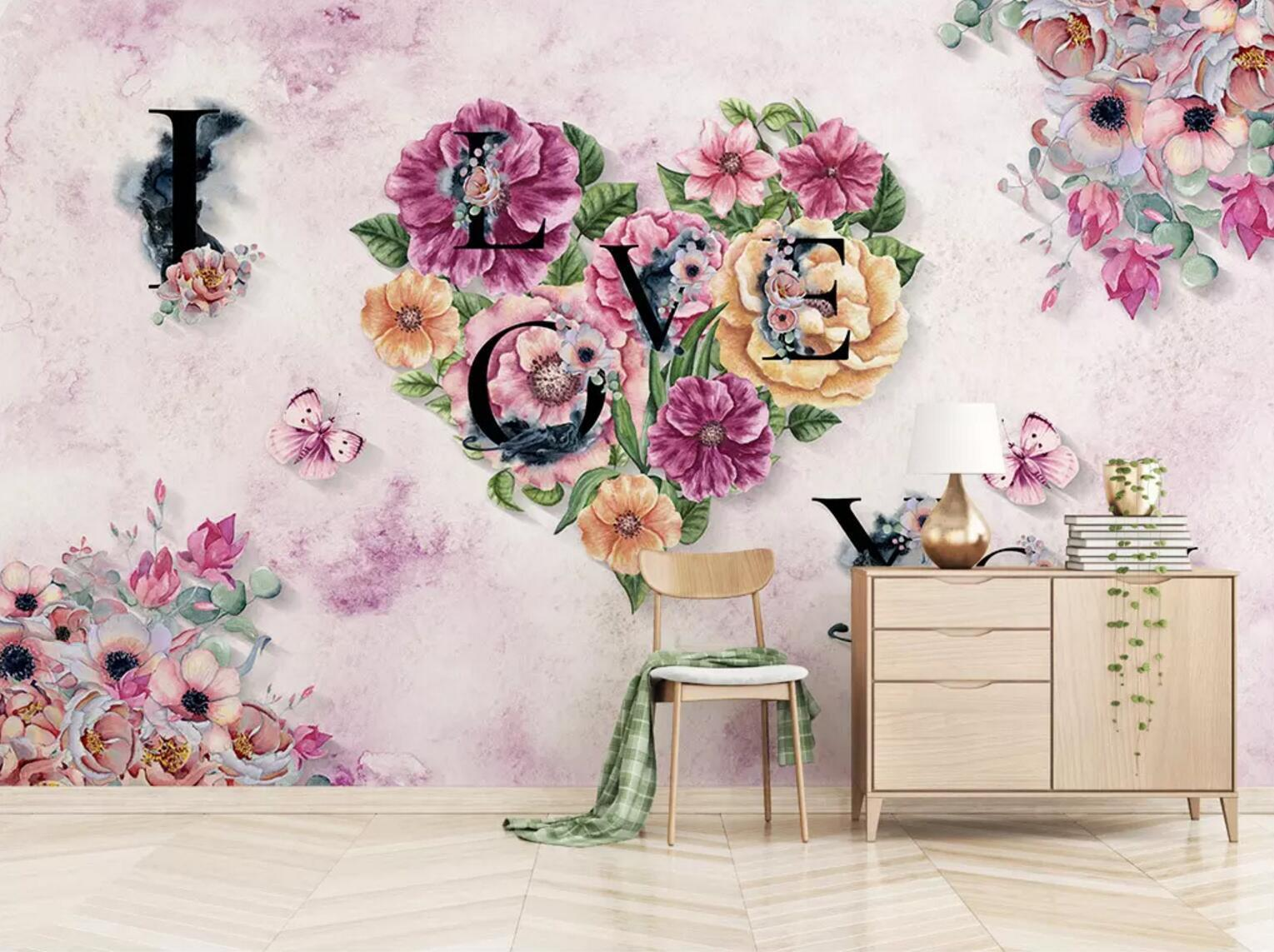 3D Love Flower 367 Wallpaper AJ Wallpaper