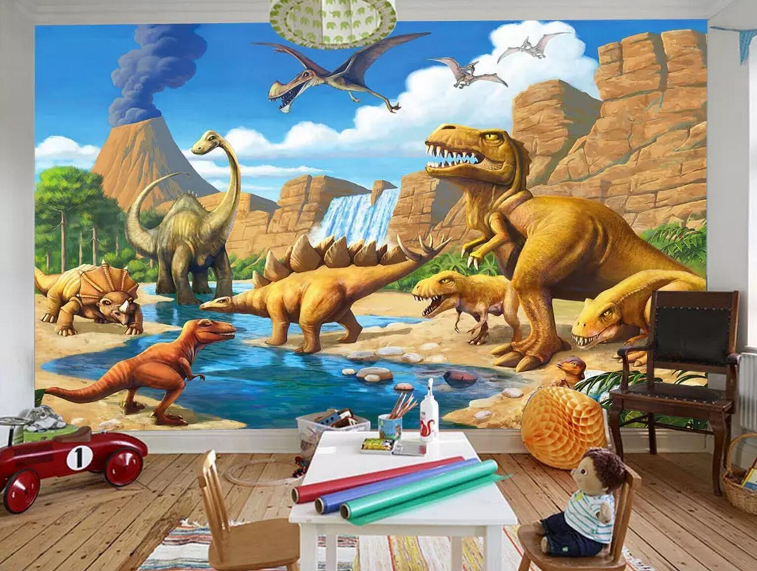 3D Yellow Sand Dinosaur 230 Wallpaper AJ Wallpaper