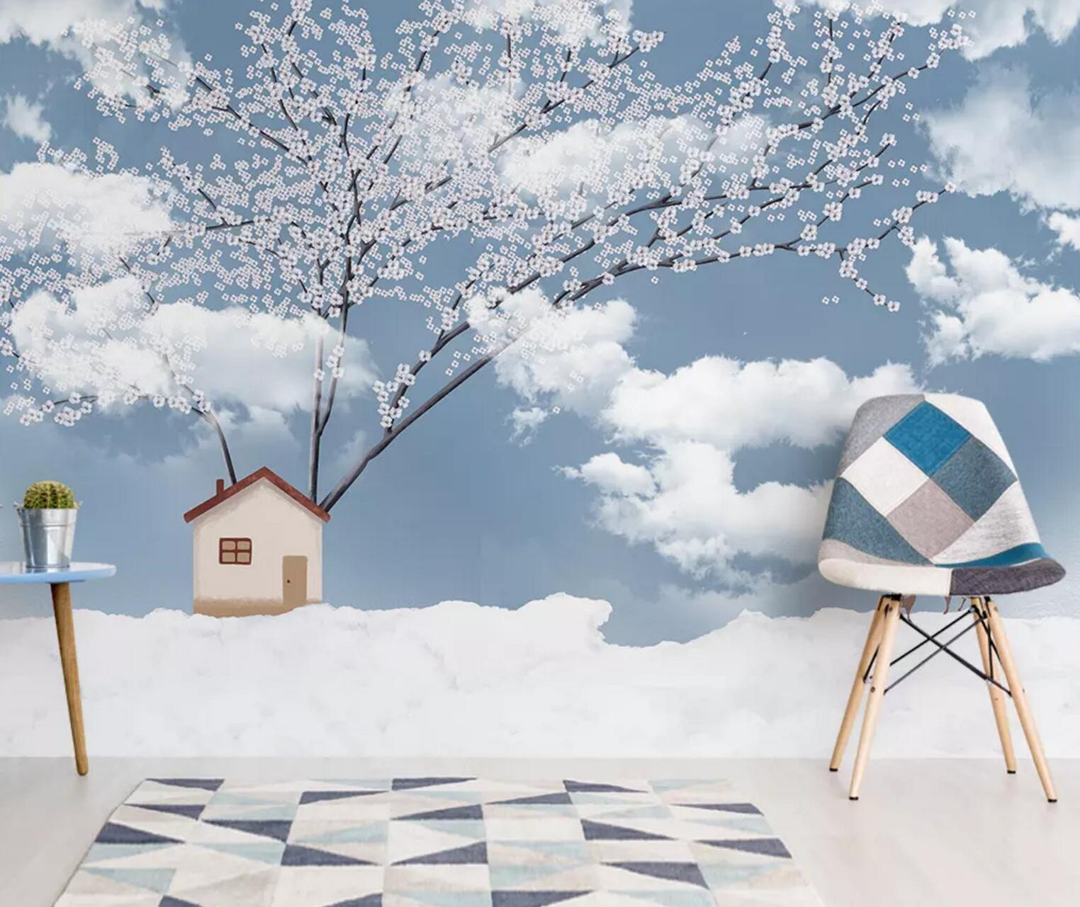 3D Cloud House 444 Wallpaper AJ Wallpaper