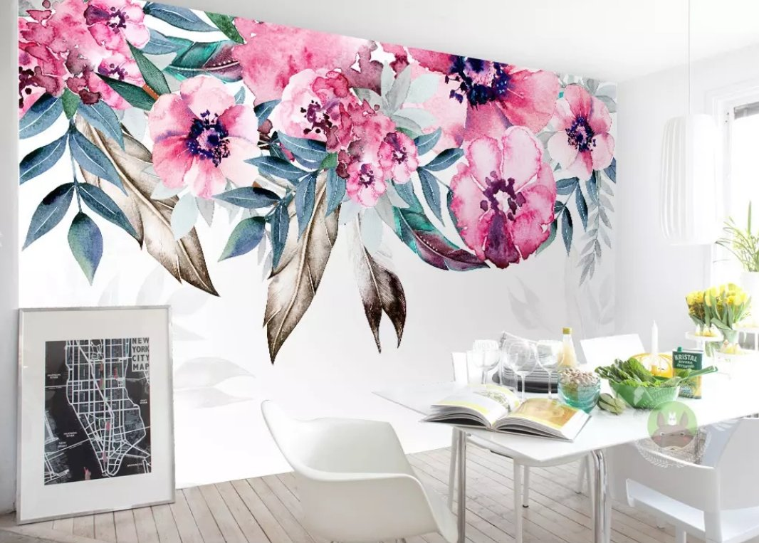 3D Colored Flowers 187 Wall Murals