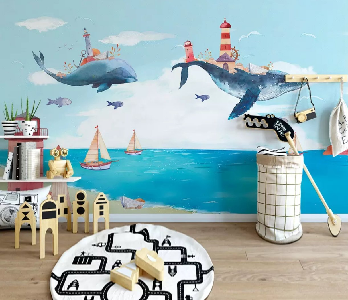3D Sea Whale 628 Wall Murals