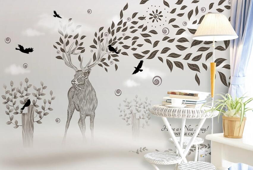 3D Elk Leaves 474 Wall Murals
