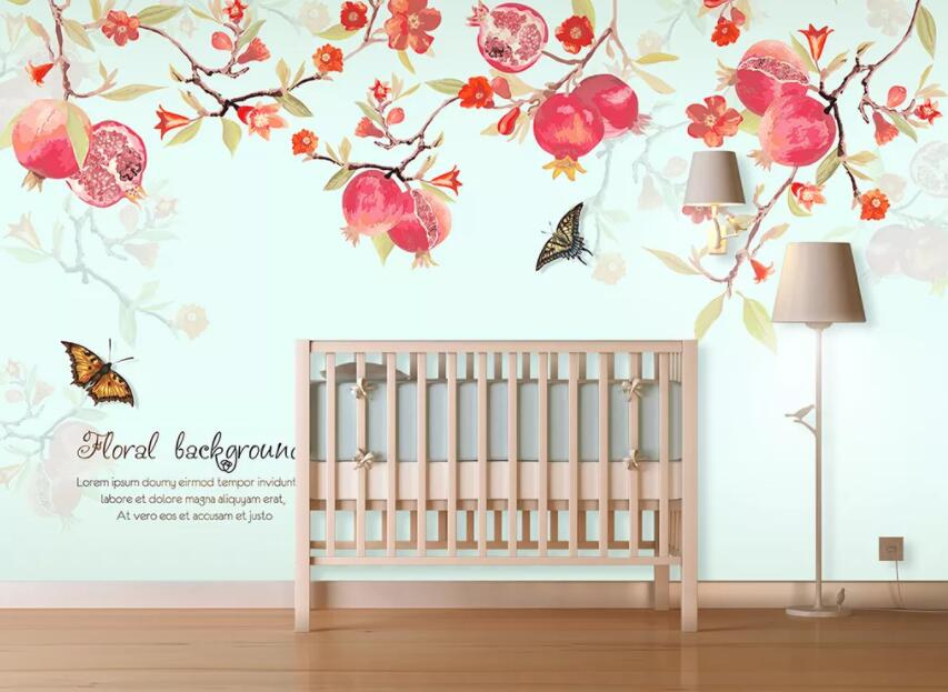 3D Pomegranate Butterfly 470 Wall Murals