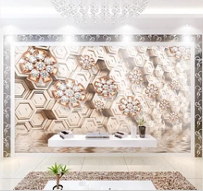 3D Diamond Flower 200 Wall Murals