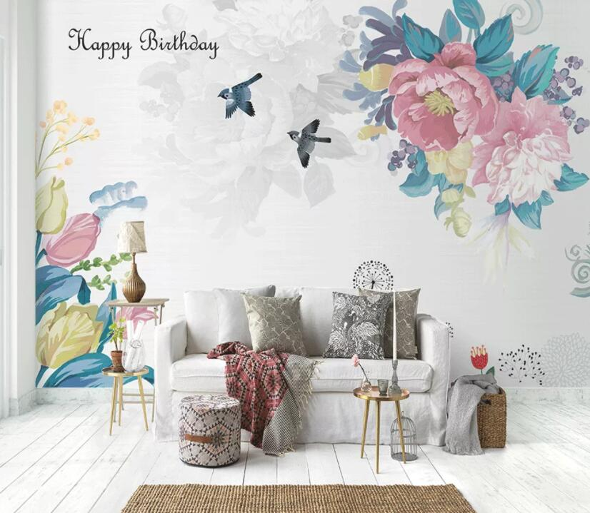 3D Colored Flowers 401 Wall Murals