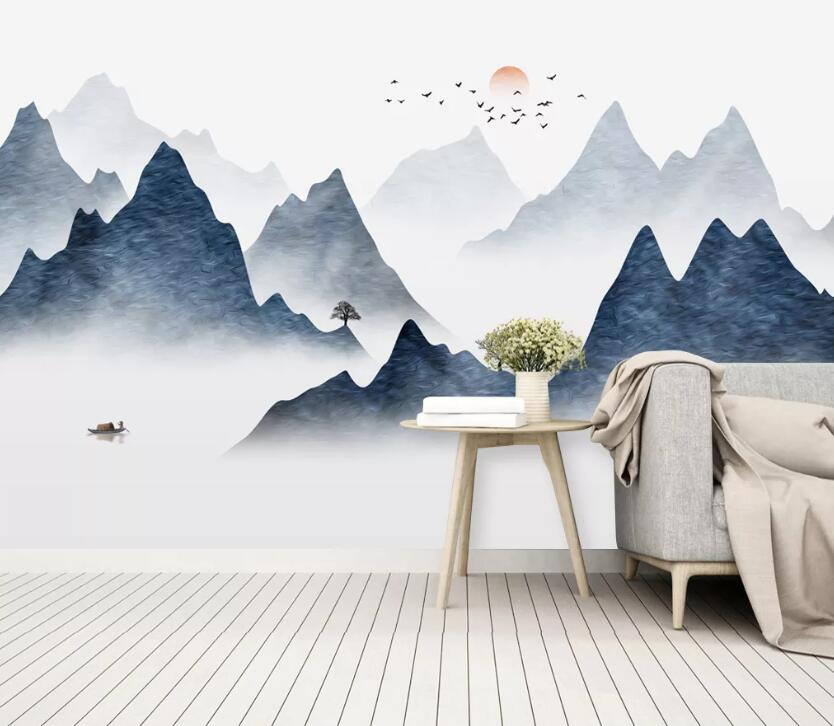 3D Mountain Tree WC2668 Wall Murals