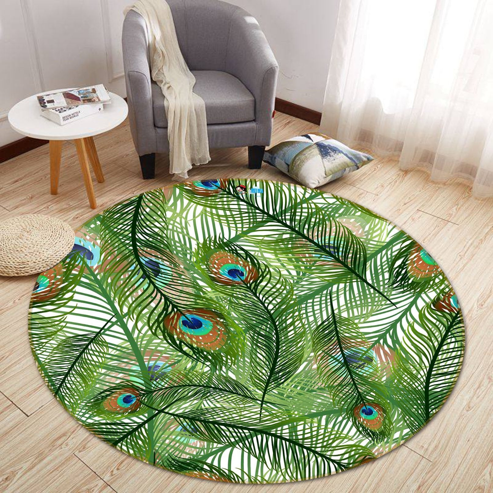 3D Peacock Feather 245 Round Non Slip Rug Mat Mat AJ Creativity Home