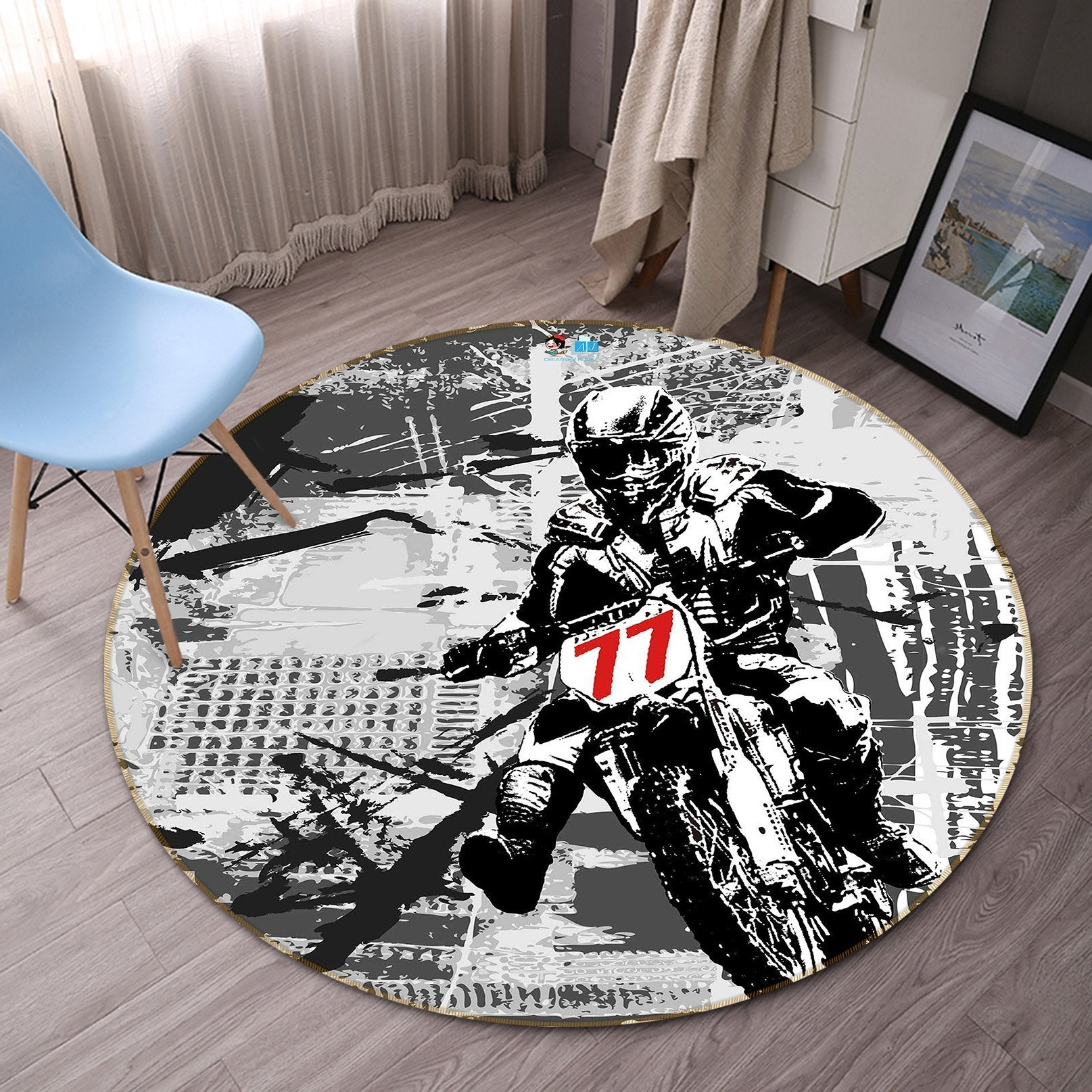 3D Painting Motorcycle 075 Round Non Slip Rug Mat Mat AJ Creativity Home