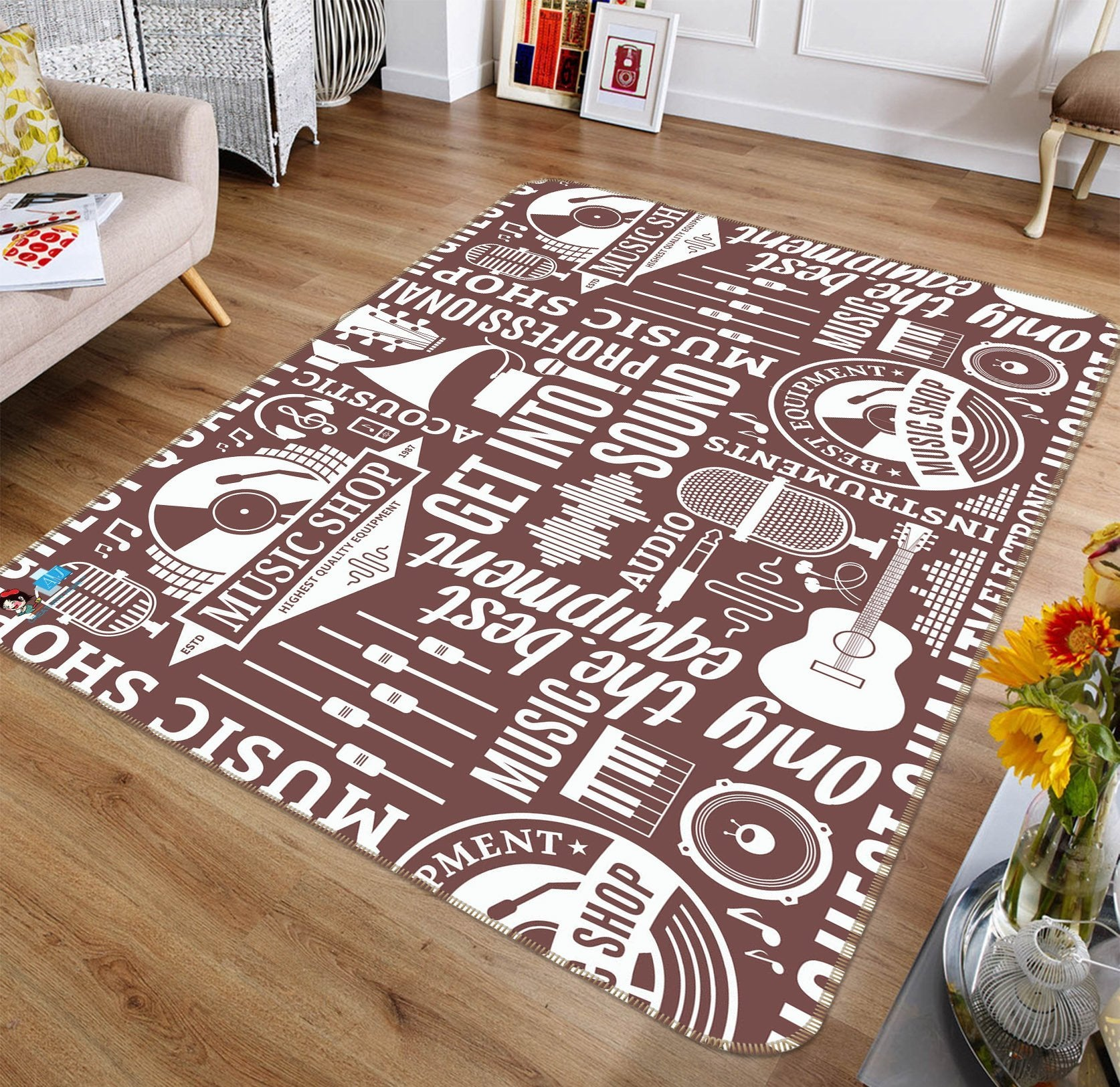3D Musical Pattern 094 Non Slip Rug Mat Mat AJ Creativity Home