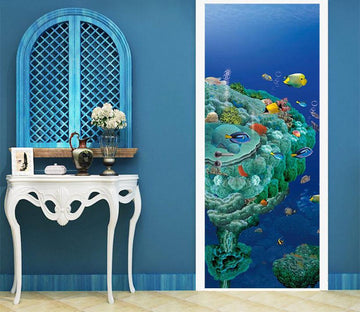3D blue Sea Island door mural Wallpaper AJ Wallpaper