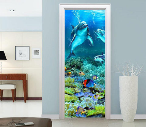 3D dolphins in the underwater world door mural Wallpaper AJ Wallpaper