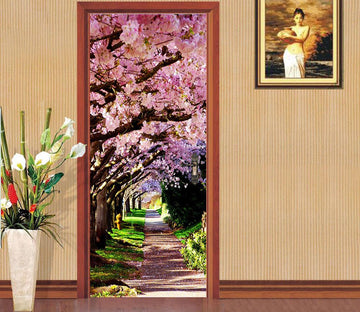 3D arow row blooming tree highway door mural Wallpaper AJ Wallpaper